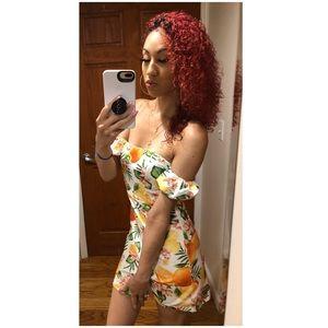 Fruit & flower off the shoulder mini dress